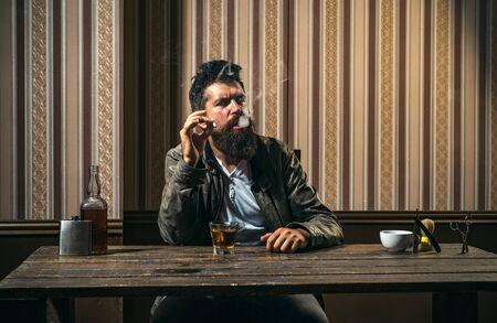 Trims. Portrait of stylish man beard. Bearded stylish barber shop client. Barber Shop Studios. Stok Fotoğraf
