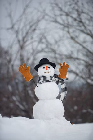 Christmas sale discounts. Snow man. Snowman with light star in Christmas day. Funny snowman in stylish hat and scarf on snowy field. 免版税图像