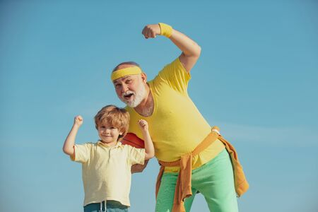 Rehabilitation. Young - old workout. Active healthy life for family. Active family enjoy sport and fitness. Family sport.