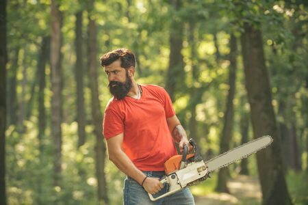Deforestation is a major cause of land degradation and destabilization of natural ecosystems. Lumberjack holding the chainsaw.