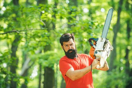 Lumberjack in the woods with chainsaw axe. Professional lumberjack holding chainsaw in the forest. Woodworkers lumberjack. Man doing mans job. Stock Photo