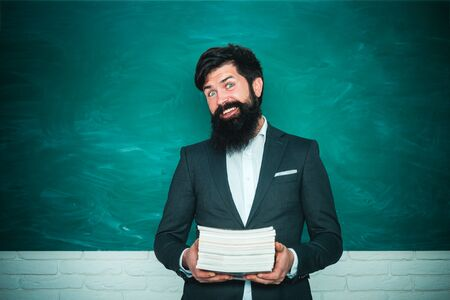 Back to school and happy time. Young teacher. Teacher job - profession and learning concept. World teachers day. Stock Photo