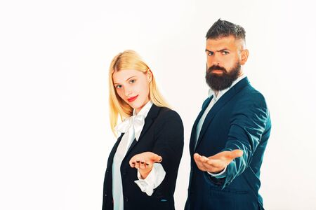 Businessman isolated - handsome man with woman standing on white background. Business concept. Stock fotó