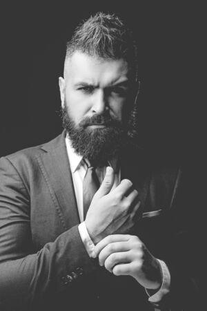 Fashion suit. Rich bearded man dressed in classic suits. Luxury mens clothing. Man in suit. Businessman confidence. Classical costume. Mans Fashion.