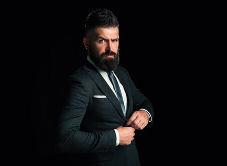 Bearded man suit fashion. Luxury classic suits, vogue. Man in classic suit, shirt and tie. Business man concept. Stock Photo