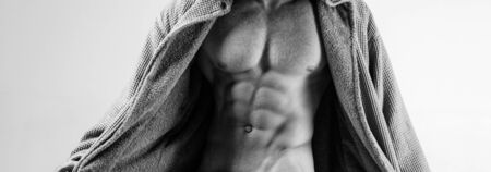 Sexy perfect temptation. Muscular men with torso. Temptation for women. Flirting. Sexy men with athlete body.
