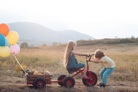 Eco life. Children farmer concept. Carefree childhood. daughter and son working in the farm. Happy children farmers working with spud on spring field. Eco farm workers Reklamní fotografie - 132241757