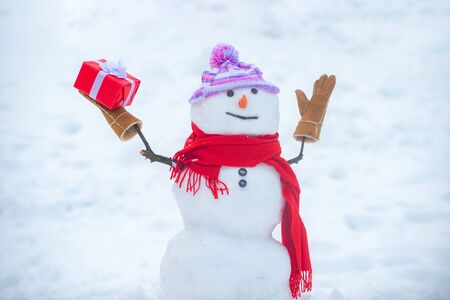 Cute snowman in hat and scarf on snowy field with surprise Christmas gift. Snowman with shopping bag - gift shopping concept. Happy smiling snow man - sale discount concept. 版權商用圖片