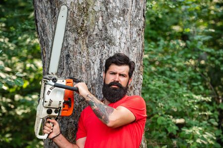 Professional lumberjack holding chainsaw in the forest. Woodcutter with axe or chainsaw in the summer forest. Agriculture and forestry theme. Harvest of timber.
