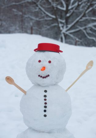Greeting snowman. Winter time scene. Christmas background with snowman. Winter scene with snowman on white snow background.