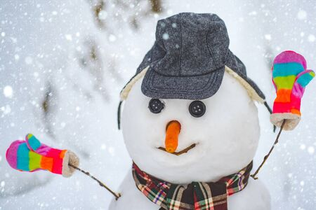 The snowman is wearing a fur hat and scarf. Funny snowman in stylish hat and scarf on snowy field. Merry Christmas and Happy new year.