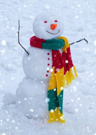 Winter background with snowflakes and snowman. Merry Christmas and Happy new year. Christmas background with snowman Standard-Bild