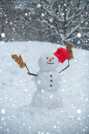 Snowmen - gift presents concept. Merry Christmas and happy new year greeting card. Festive Art Greeting Card. Cute snowman in hat and scarf on snowy field with surprise Christmas gift