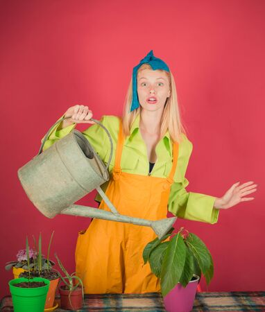 Smiling cute woman in green shirt has grown beautiful flower. Free time leisure. Beautiful blonde girl with colorful blooming flower in flowerpot. Woman posing in studio with garden tools.