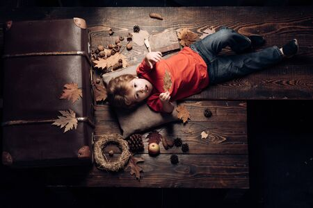 The biggest discounts for all autumn clothes for children. Blonde little boy resting with leaf on stomach lies on wooden floor in autumn leaves. Kid playing in autumn