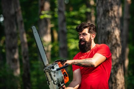 Lumberjack on serious face carries chainsaw. Woodcutter with chainsaw on sawmill. A handsome young man with a beard carries a tree. Harvest of timber. Stock Photo