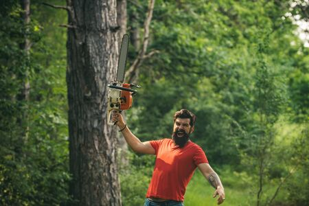 The Lumberjack working in a forest. Lumberjack worker with chainsaw in the forest. Lumberjack worker standing in the forest with chainsaw. Logging. Agriculture and forestry theme.