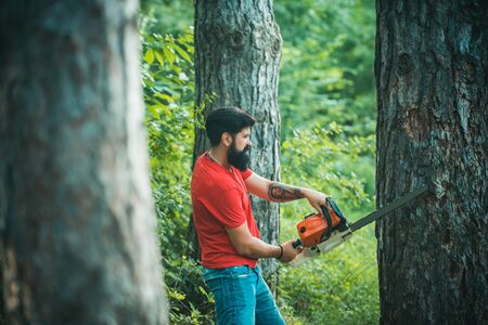 Lumberjack worker with chainsaw in the forest. Lumberjack in the woods with chainsaw axe. Lumberjack with chainsaw on forest background