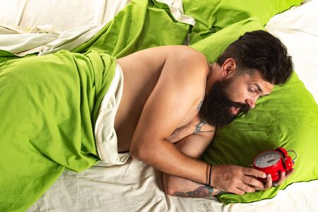 Violations of sleep and wakefulness. Sleep disorders concept. Wake up time and alarm concept.