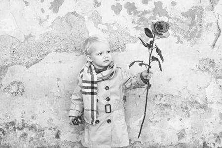 Little boy Celebrate Valentines Day. Gift, Romantic and Date. Valentines Day Cards. Saint Valentine.