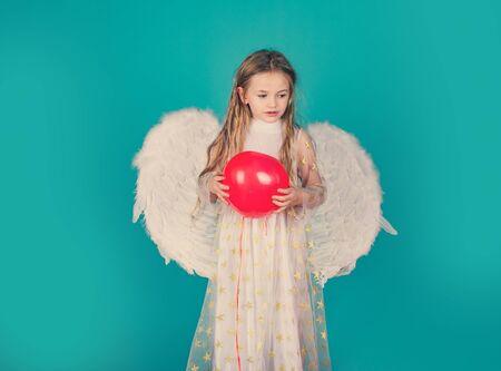 Kids Valentines Day. Happy little Angel. Saint Valentines Day card. Cherub. Beautiful little angel girl. Pretty little angel girl. Cherub. Happy little Angel.