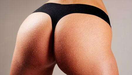 Looking just perfect. No cellulite. Epilation. desire and temptation. underwear fashion. fitness and diet. woman show ass. love games. girl in erotic lingerie. sexy female buttocks. Soft skin.