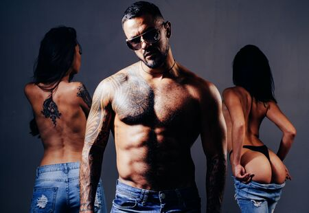 Passion for latin man body. Threesome group sex game. muscular man with sexy abs. Strong bodybuilder man. six pack. Strong muscles and power.