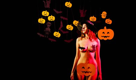 Halloween dresses and witch costumes and witch hats. Witch hat. Happy Halloween Quotes for Spooky Fun. 31 october. Happy Halloween Stickers. Sexy woman on Halloween background.