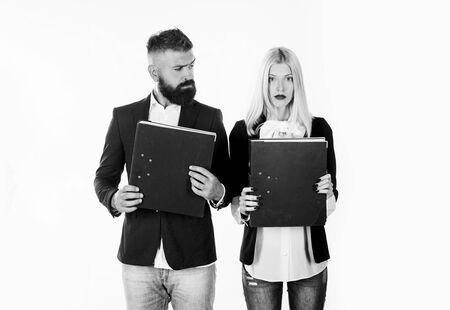 Businessman working together. Business man and woman portrait on white background.