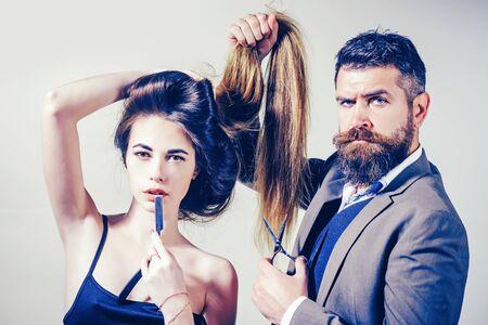 Beauty girl with Healthy Hair. Long hair. Fashion haircut. Hairdresser, beauty salon. Styling cut for very long hair.