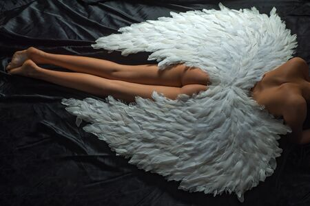 Fallen white angel. Art photo of a Angelic beautiful woman. Angel girl. Cupid woman.