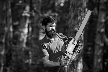 Firewood as a renewable energy source. Stylish young man posing like lumberjack. Firewood as a renewable energy source. Lumberjack with chainsaw on forest background. Stock fotó