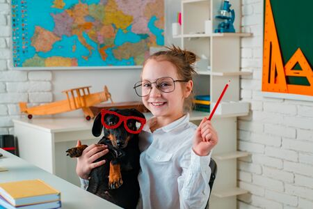 Cute playful doggy or pet with glasses looking up like a pupil. Funny puppy in glasses. Happy smiling kid go back to school. Funny education. Smart and clever dog with glasses. Stock Photo