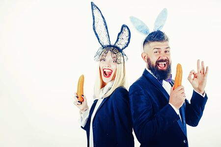 Funny easter bunny. Funny couple in banny ears. Happy easter and funny easter day. Bunny rabbit ears costume.