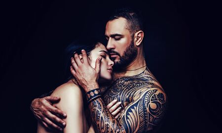 Love and desire. Latino man hugging adorable woman with love. Sensual couple in love. Erotic love of hispanic man and sexy woman Kho ảnh