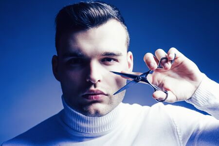 Create your style. Macho confident barber cut hair. Barbershop service concept. Professional barber equipment. Cut hair. Man strict face hold scissors. Barber glossy hairstyle hold steel scissors