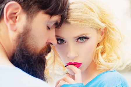 Romantic couple. Love, romance and people concept. Boyfriend and girlfriend. Close-up. Stockfoto