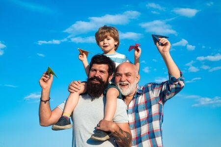 Generation concept. Happy men loving family. Happy family. Male multi generation portrait. Dad and son.