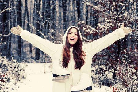 Outdoors. women on mountain. Winter woman happy. Winter woman snow. Global cooling. Women in winter clothes.