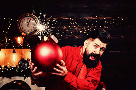 Funny Santa wishes Merry Christmas and Happy new year. Sparkle blast. Hipster Santa claus. Bomb text copy space. Bomb emotions.