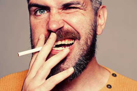 Hard drugs and nicotine addict. Human physiology concept. Stop smoking addiction. Фото со стока