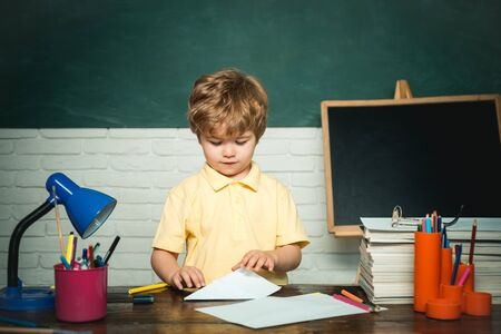 Back to school. Little boy pupil with happy face expression near desk with school supplies - school concept.