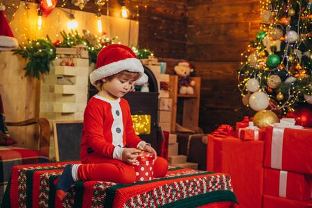 The morning before Christmas. Christmas kids - happiness concept. Home Christmas atmosphere. Wish you merry Christmas.