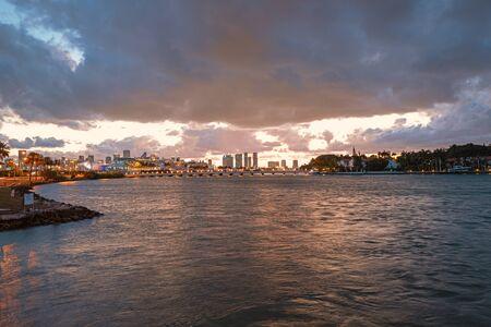 Panorama of Cruise ship and Miami Skyline. Miami, USA skyline on Biscayne Bay.