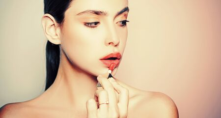Skin Beauty. Skin care concept. Face cream. Beautiful Young Woman Face With Fresh Skin.