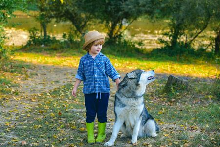 Funny child boy with dog walk together on green hill. Summer portrait of happy cute child - son with dog pet. Little brother walk with puppy. Childhood memories.