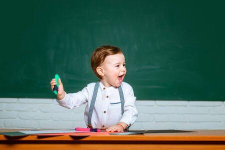 Child preschooler learning. Kids from preschool. After school teaching