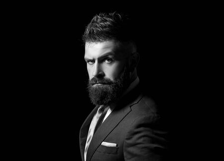 Rich man model. Business man concept. Businessman in dark grey suit with long beard. Man in classic suit, shirt and tie. Фото со стока