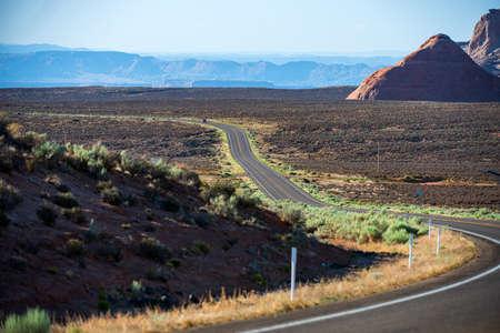 Panoramic skyline with empty road. Traveling Theme. Archivio Fotografico