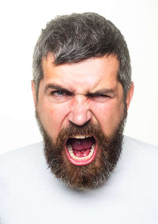 Angry Barber with long beard and moustache in barbershop. Bearded annoyed angry man. Scream stressful face expression.